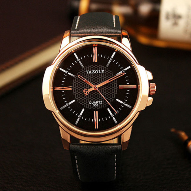 Yazole Heren Quartz Horloge | Zwart/Goud | PU Lederen Band