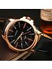 Fashion Favorite Yazole Heren Quartz Horloge | Zwart/Goud | PU Lederen Band