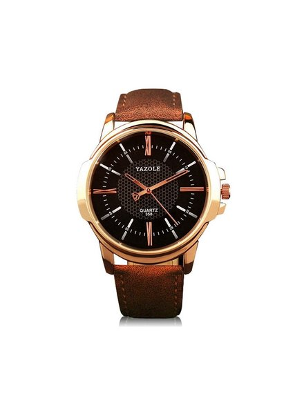 Fashion Favorite Yazole Heren Quartz Horloge | Bruin/Zwart - Goud