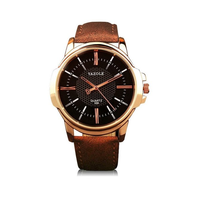 Yazole Heren Quartz Horloge   Bruin/Zwart - Goud