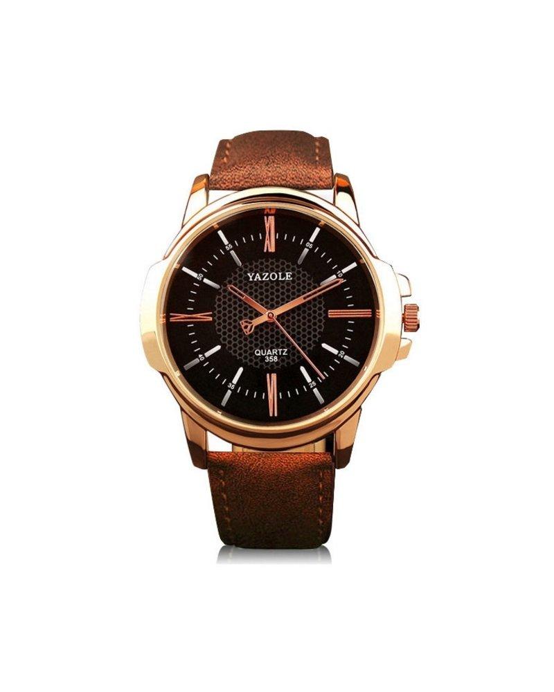 Fashion Favorite Yazole Heren Quartz Horloge | Bruin/Zwart - Goud | PU Lederen Band