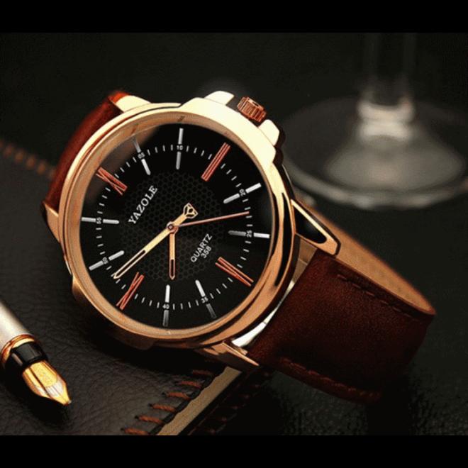 Yazole Heren Quartz Horloge   Bruin/Zwart - Goud   PU Lederen Band