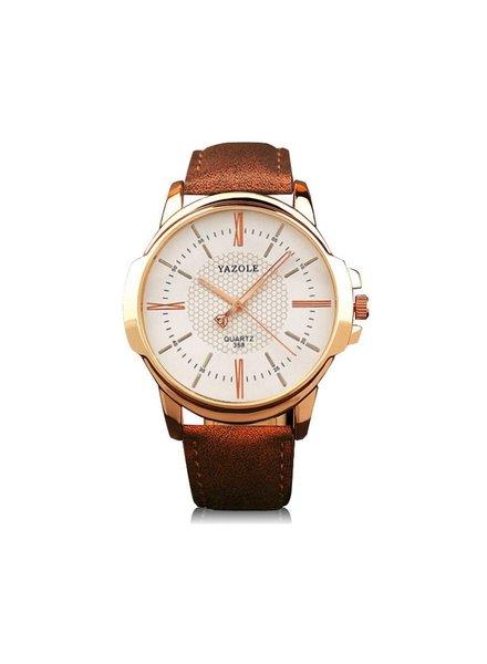 Fashion Favorite Yazole Heren Quartz Horloge | Bruin/Wit - Goud