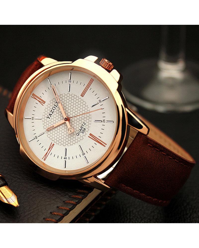 Fashion Favorite Yazole Heren Quartz Horloge | Bruin/Wit - Goud | PU Lederen Band