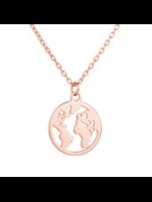 Fashion Favorite Wereldbol / World Map Ketting | Rosekleurig