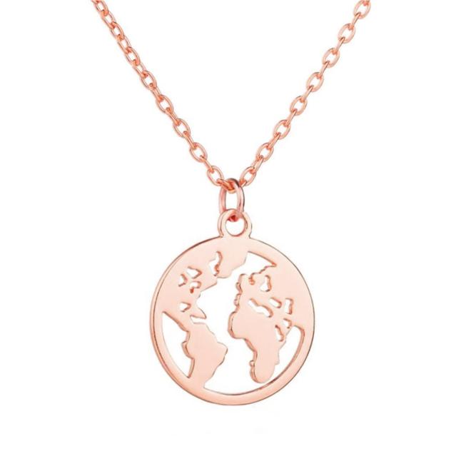 Wereldbol / World Map Ketting | Rosekleurig | 45 + 5 cm