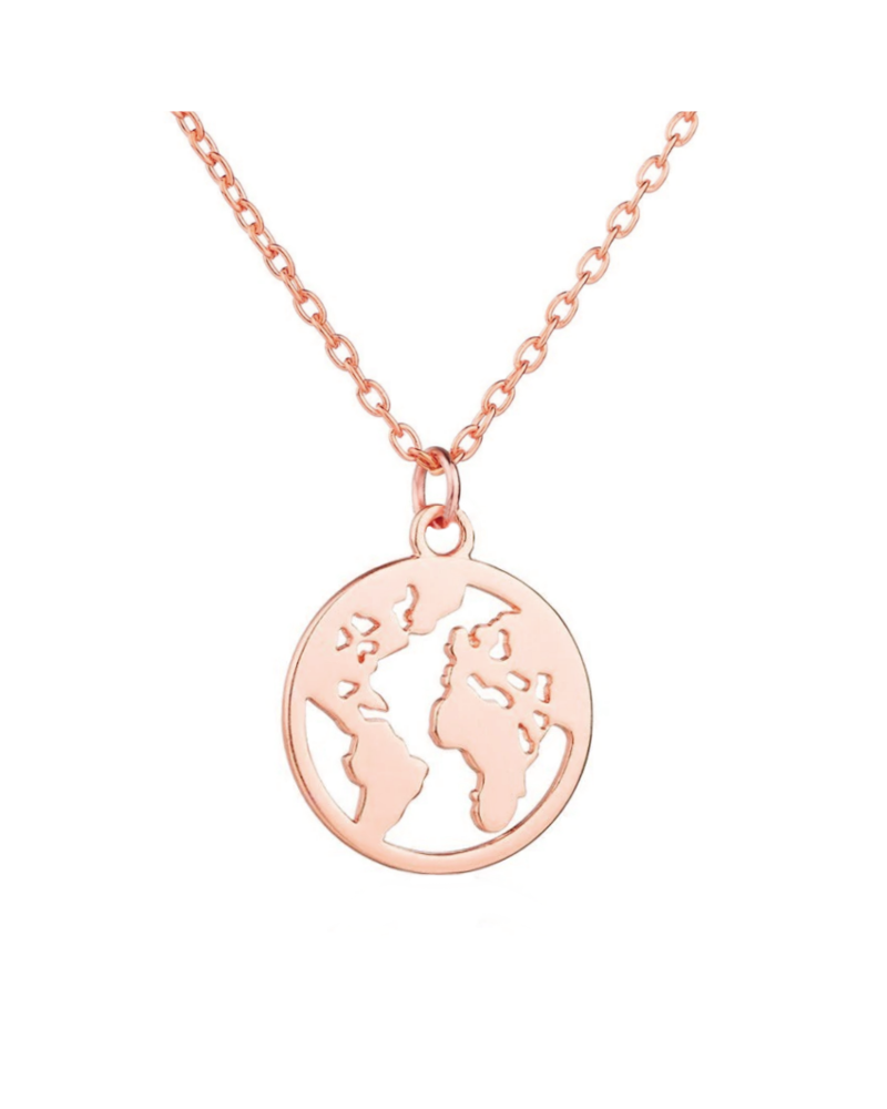 Fashion Favorite Wereldbol / World Map Ketting | Rosekleurig | 45 + 5 cm