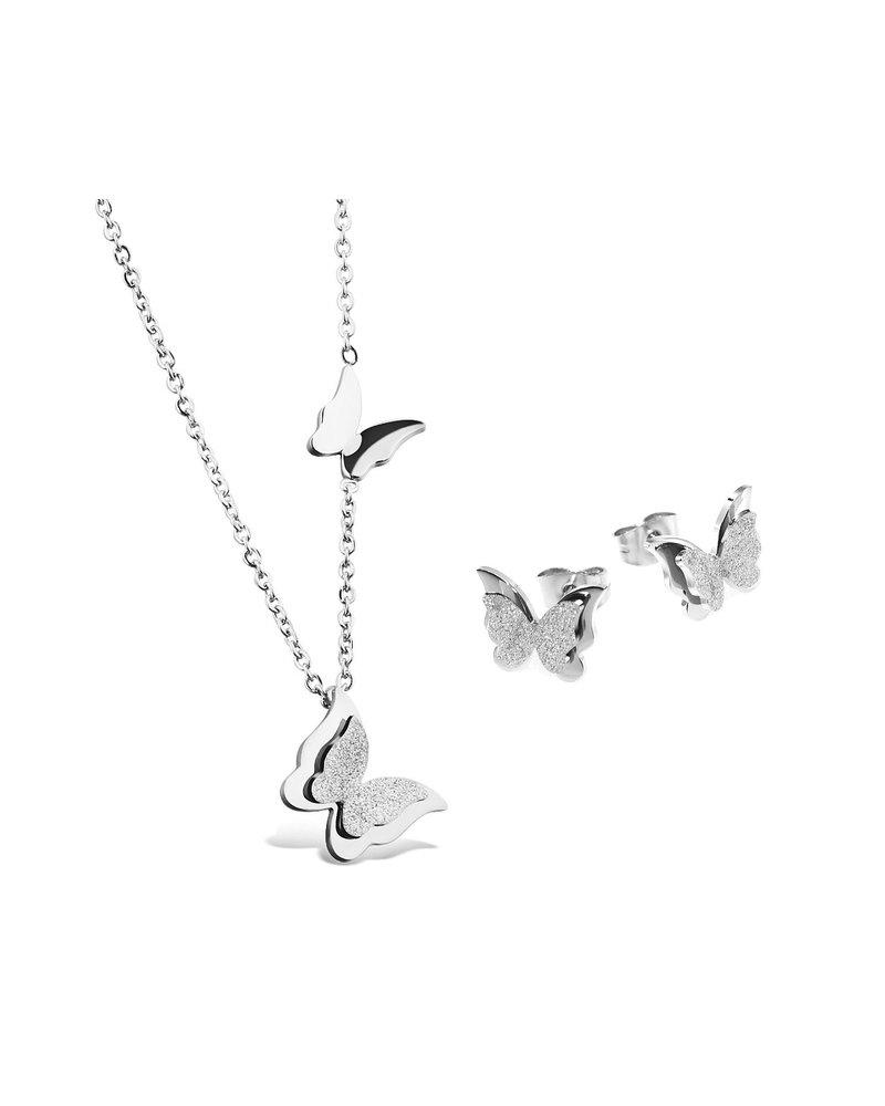 Fashion Favorite Vlinder Oorbellen & Ketting | Zilverkleurig | Stainless Steel