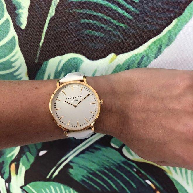 Vitória White / Gold 2.0 Horloge   Rosekleurig & Wit   Lederen band   Luxe Giftset/Cadeauset