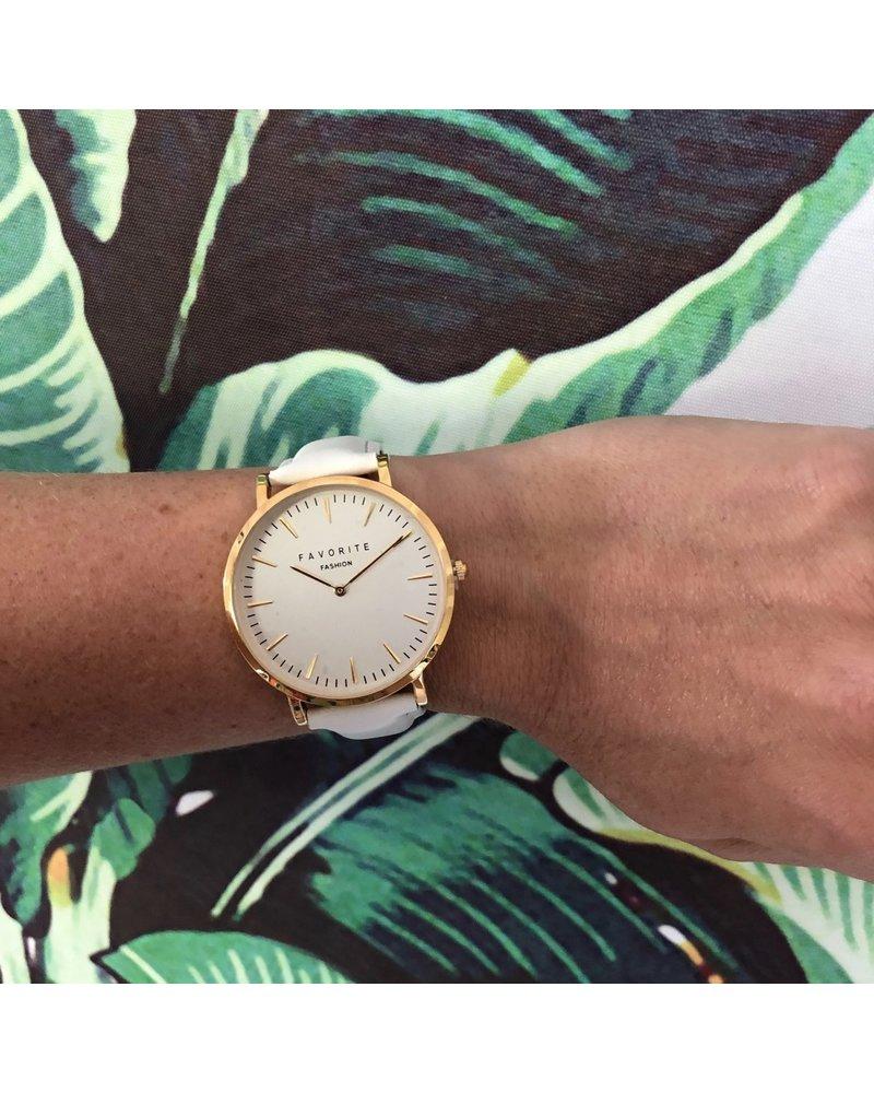 Favorite Fashion Vitória White / Gold 2.0 Horloge | Rosekleurig & Wit | Lederen band | Luxe Giftset/Cadeauset