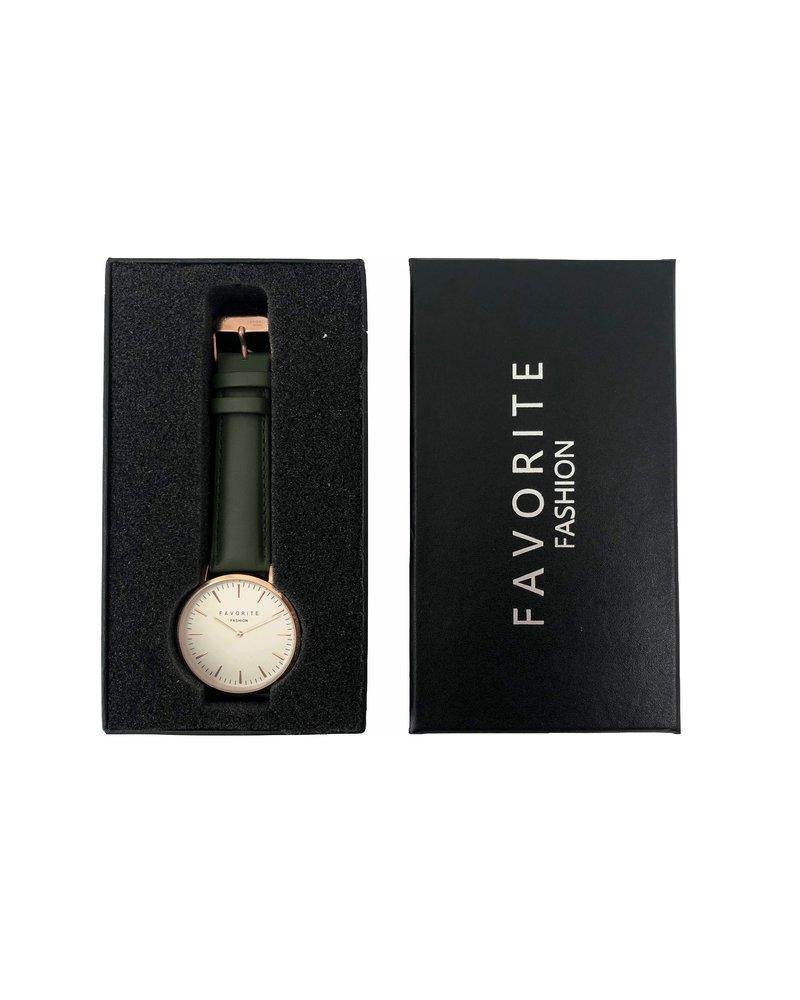 Favorite Fashion Vitória Olive Green 2.0 Horloge | Rosekleurig & Groen | Lederen band | Luxe Giftset/Cadeauset