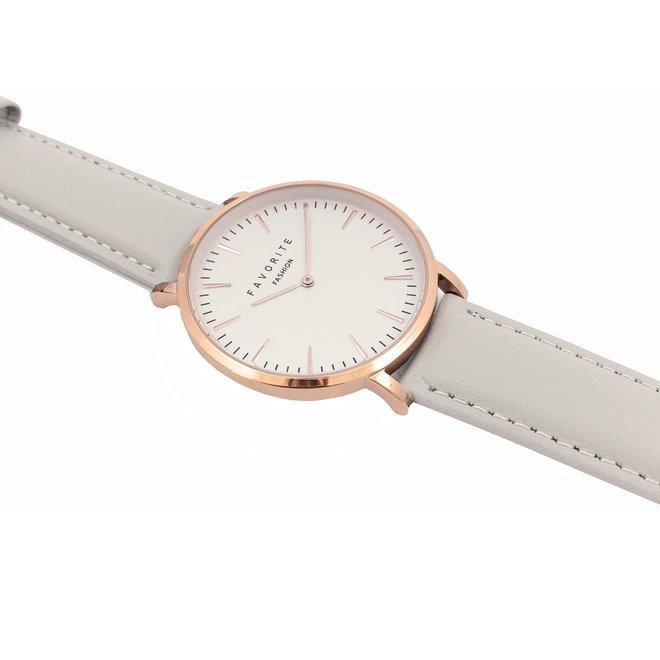 Vitória Matt Grey 2.0 Horloge   Rosekleurig & Grijs   Lederen band   Luxe Giftset/Cadeauset
