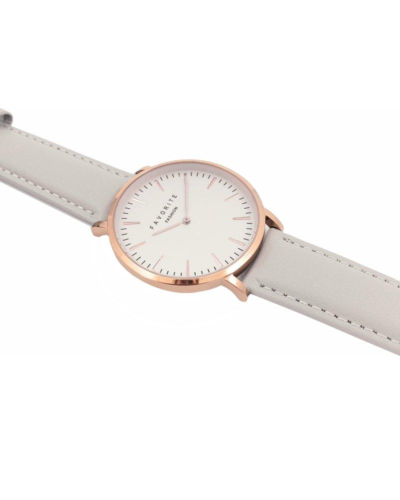 Favorite Fashion Vitória Matt Grey 2.0 Horloge | Rosekleurig & Grijs | Lederen band | Luxe Giftset/Cadeauset