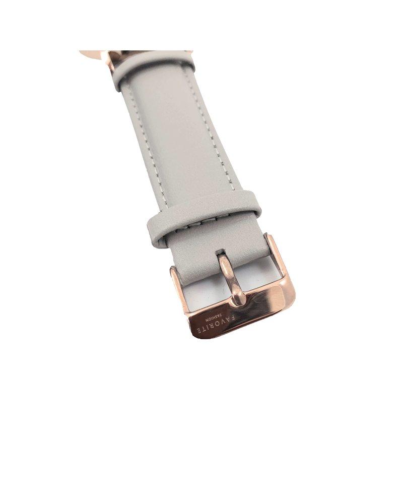 Favorite Fashion Vitória Matt Grey 2.0 Horloge   Rosekleurig & Grijs   Lederen band   Luxe Giftset/Cadeauset
