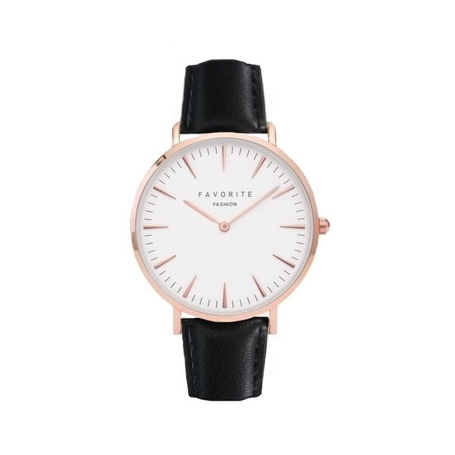Vitória Matt Black Horloge | | Rosegoud & Zwart | Lederen band | Luxe Giftset/Cadeauset