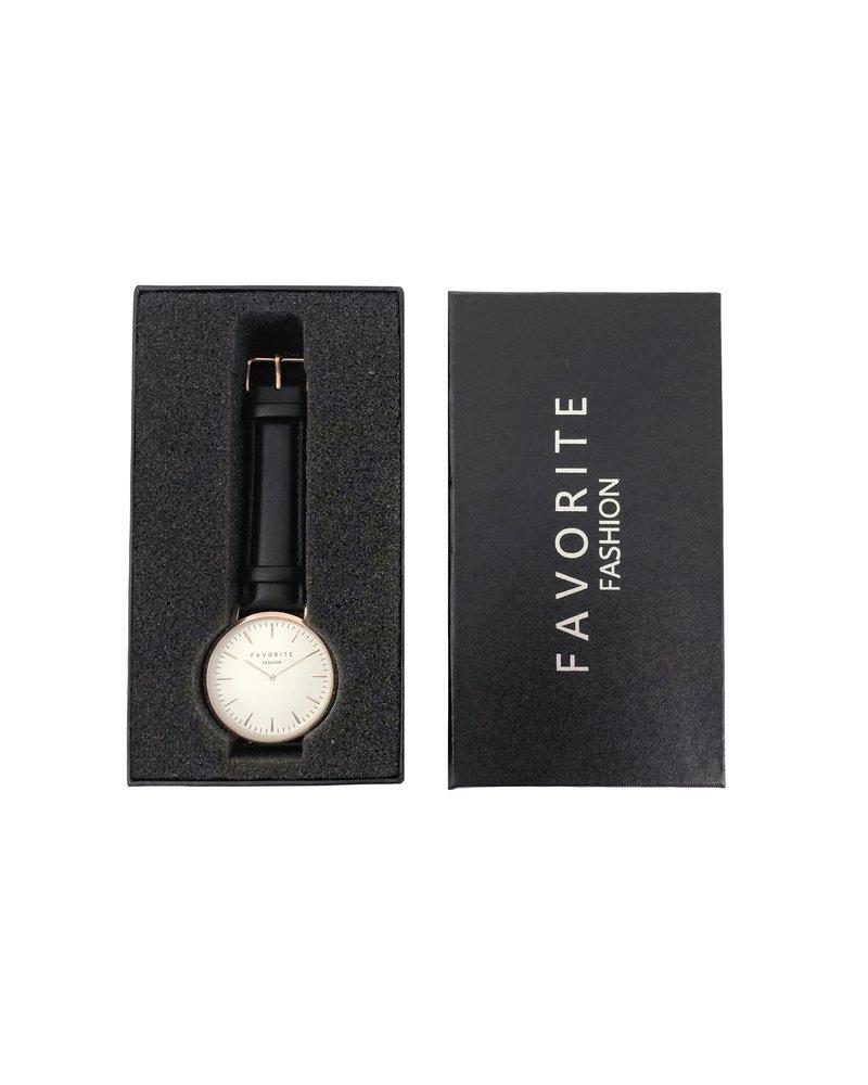 Fashion Favorite Vitória Matt Black Horloge | | Rosegoud & Zwart | Lederen band | Luxe Giftset/Cadeauset
