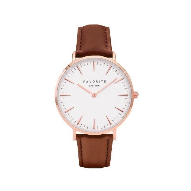 Vitória Cognac Brown 2.0 Horloge | Rosekleurig & Bruin | Lederen band | Luxe Giftset/Cadeauset