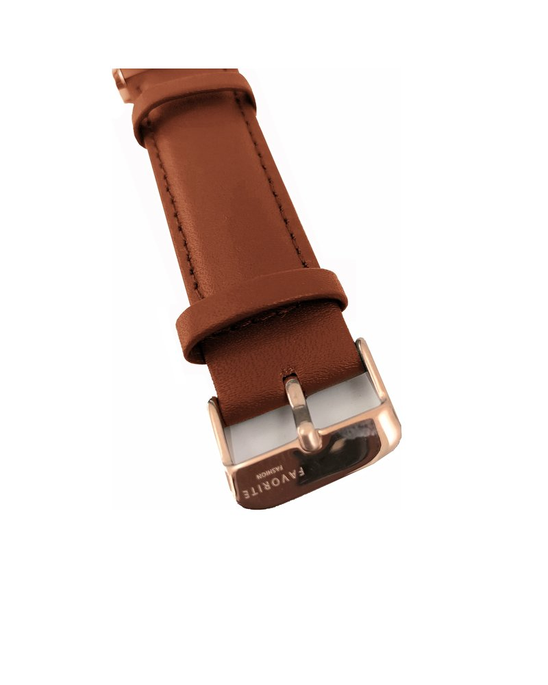 Favorite Fashion Vitória Cognac Brown 2.0 Horloge | Rosekleurig & Bruin | Lederen band | Luxe Giftset/Cadeauset