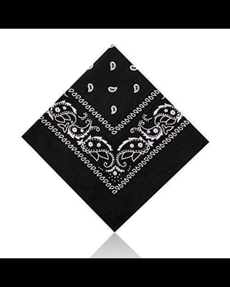 Fashion Favorite Vintage Bandana / Zakdoek Zwart | Katoen | 55 x 55 cm