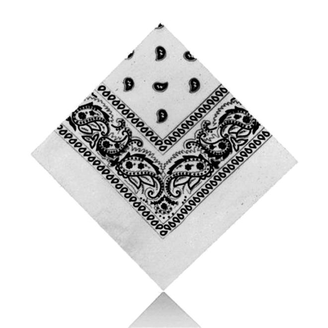 Vintage Bandana / Zakdoek Wit   Katoen   55 x 55 cm