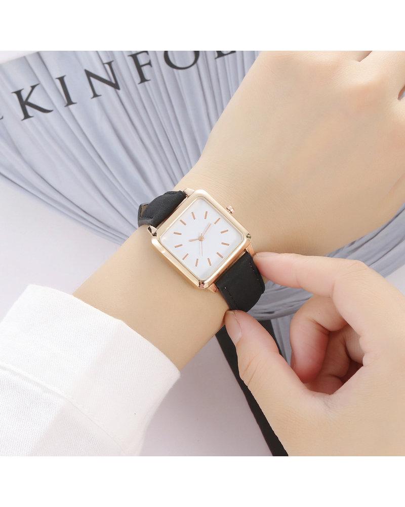 Fashion Favorite Vesper Square Horloge | Zwart / Wit | Vierkant | Kunstleer | Ø 30 mm