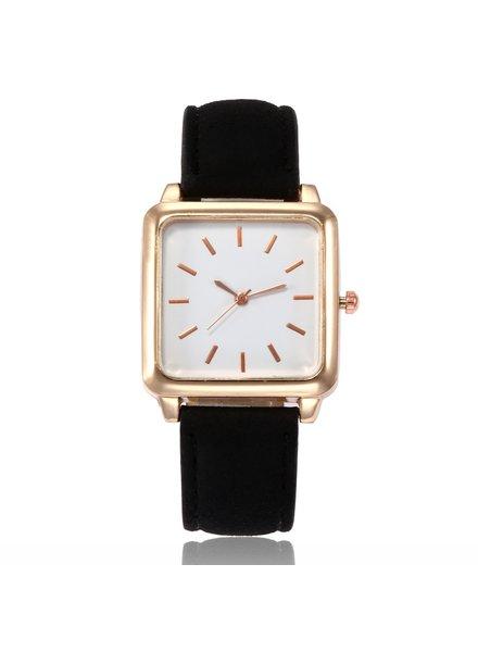 Fashion Favorite Vesper Square Horloge | Zwart / Wit