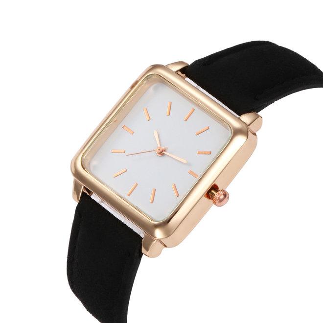 Vesper Square Horloge   Zwart / Wit   Vierkant   Kunstleer   Ø 30 mm