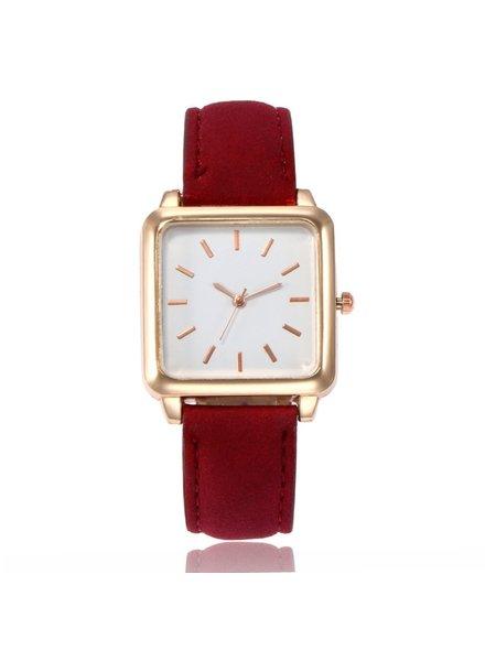 Fashion Favorite Vesper Square Horloge | Rood / Wit
