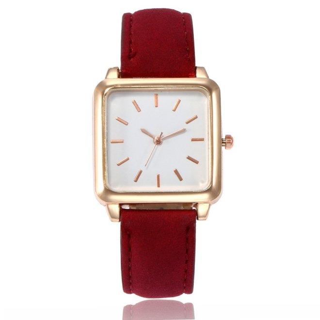 Vesper Square Horloge | Rood / Wit | Vierkant | Kunstleer | Ø 30 mm