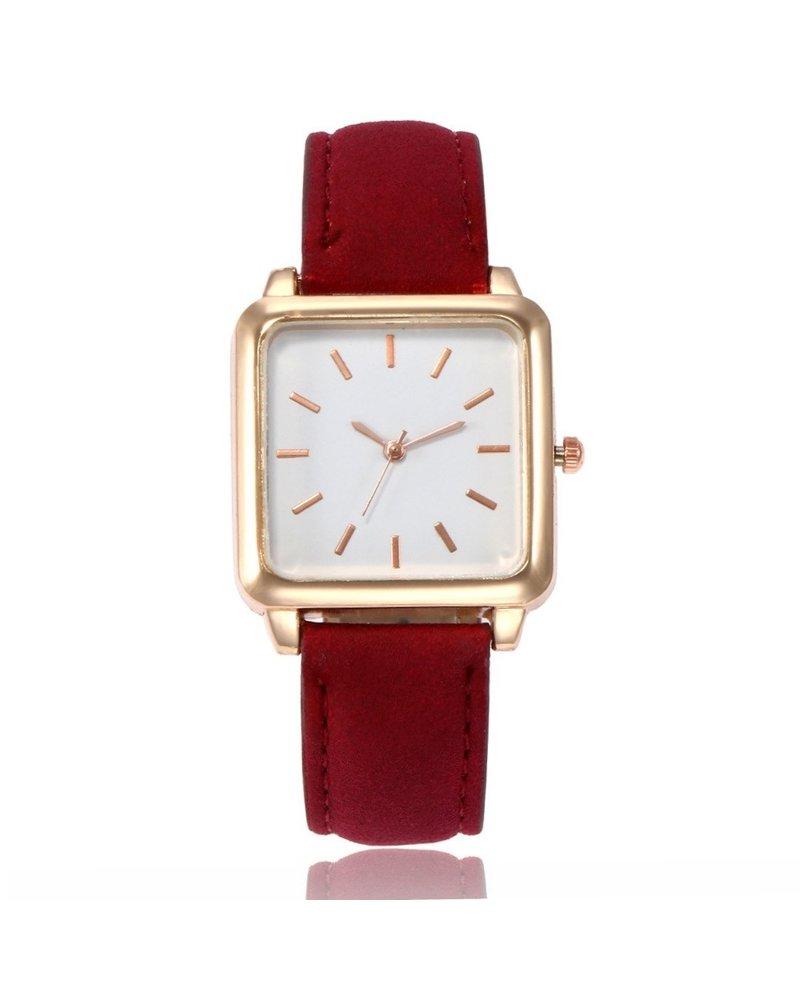 Fashion Favorite Vesper Square Horloge | Rood / Wit | Vierkant | Kunstleer | Ø 30 mm