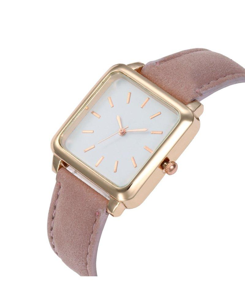 Fashion Favorite Vesper Square Horloge   Oudroze / Wit   Vierkant   Kunstleer   Ø 30 mm