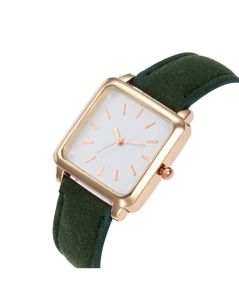 Fashion Favorite Vesper Square Horloge   Groen / Wit   Vierkant   Kunstleer   Ø 30 mm