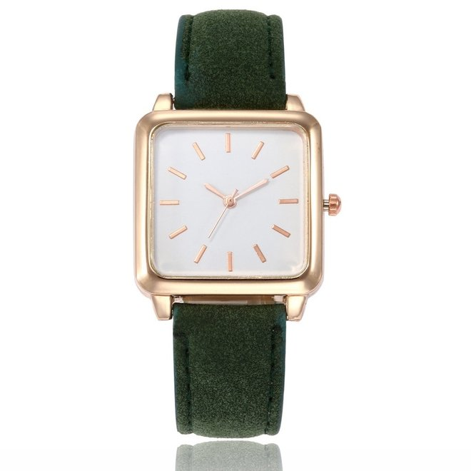 Vesper Square Horloge | Groen / Wit