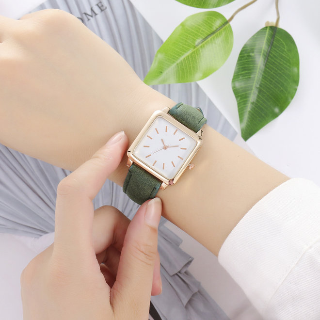 Vesper Square Horloge | Groen / Wit | Vierkant | Kunstleer | Ø 30 mm