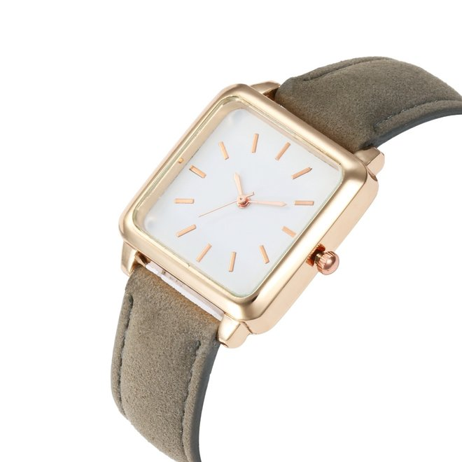 Vesper Square Horloge | Grijs / Wit | Vierkant | Kunstleer | Ø 30 mm
