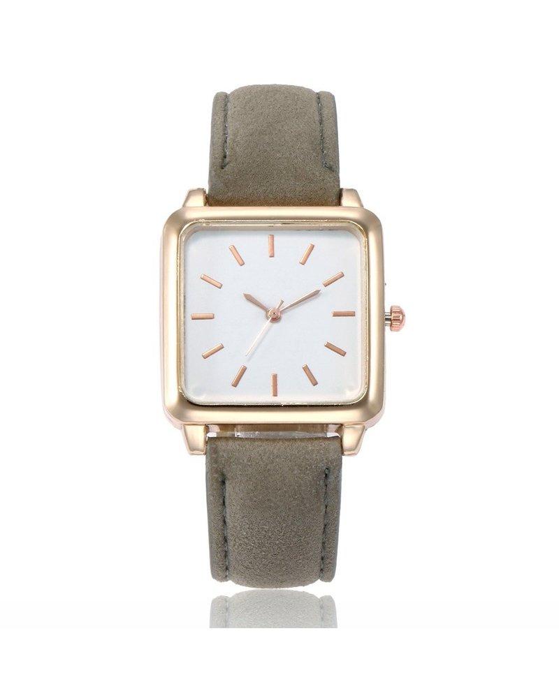 Fashion Favorite Vesper Square Horloge | Grijs / Wit | Vierkant | Kunstleer | Ø 30 mm