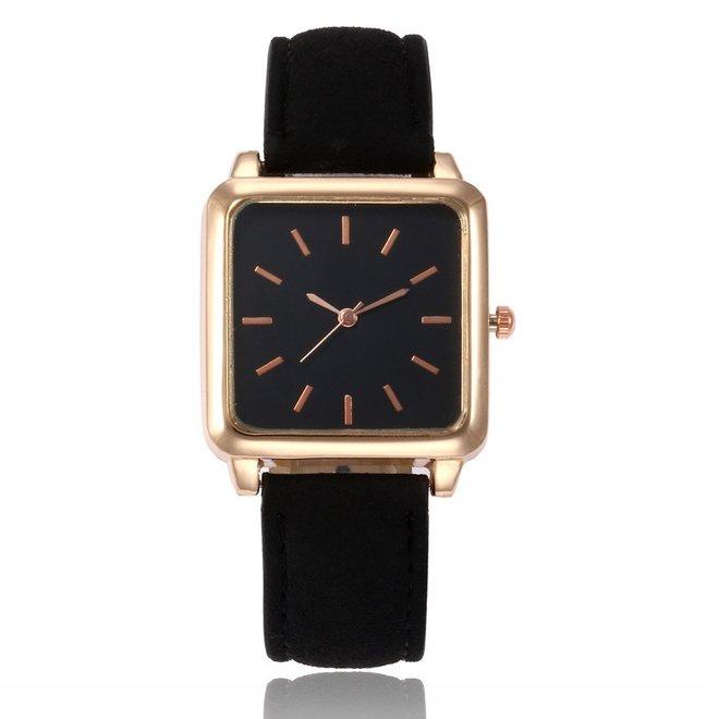Vesper Black Square Horloge   Zwart   Vierkant   Kunstleer   Ø 30 mm