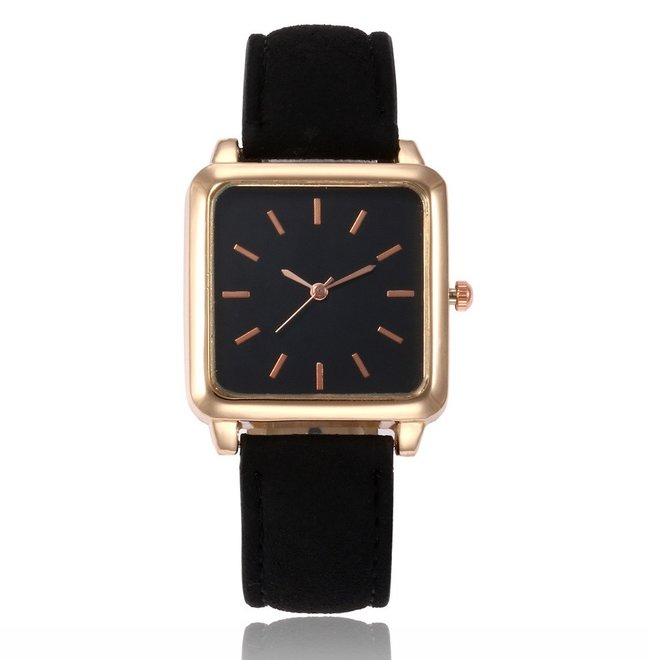 Vesper Black Square Horloge   Zwart