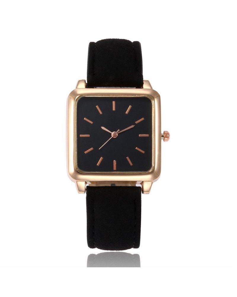 Fashion Favorite Vesper Black Square Horloge | Zwart | Vierkant | Kunstleer | Ø 30 mm
