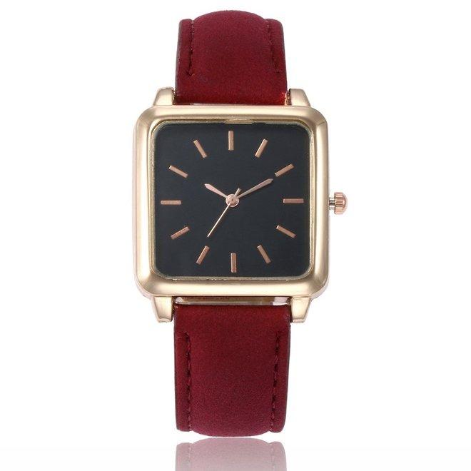 Vesper Black Square Horloge | Rood