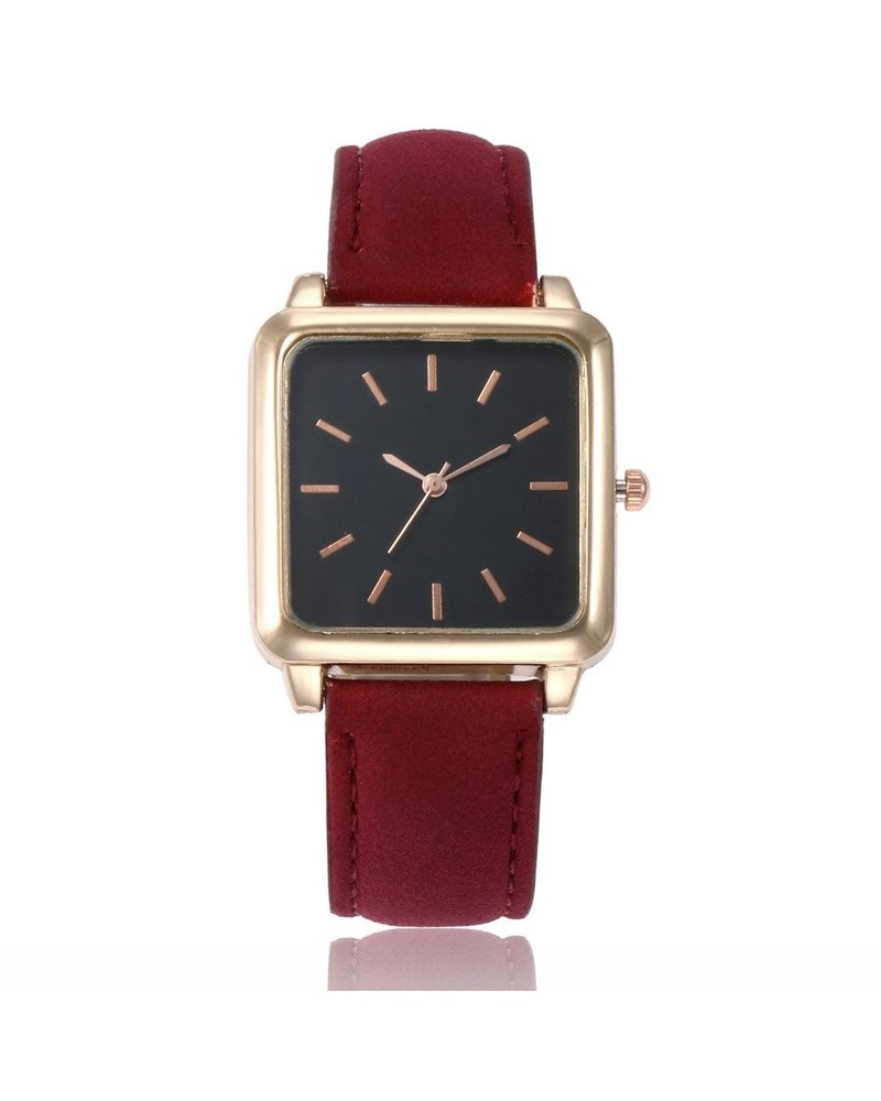 Fashion Favorite Vesper Black Square Horloge | Rood | Vierkant | Kunstleer | Ø 30 mm
