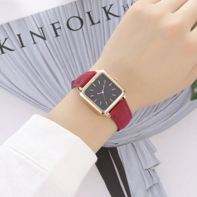 Vesper Black Square Horloge | Rood | Vierkant | Kunstleer | Ø 30 mm
