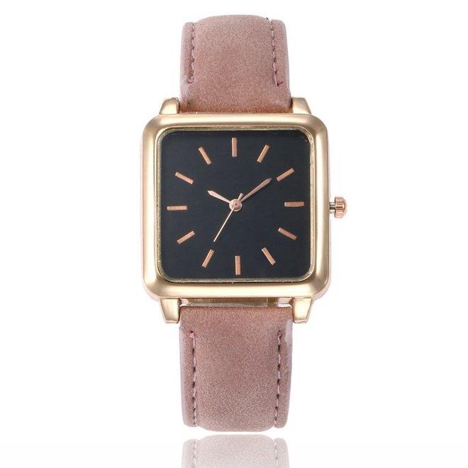 Vesper Black Square Horloge | Oudroze