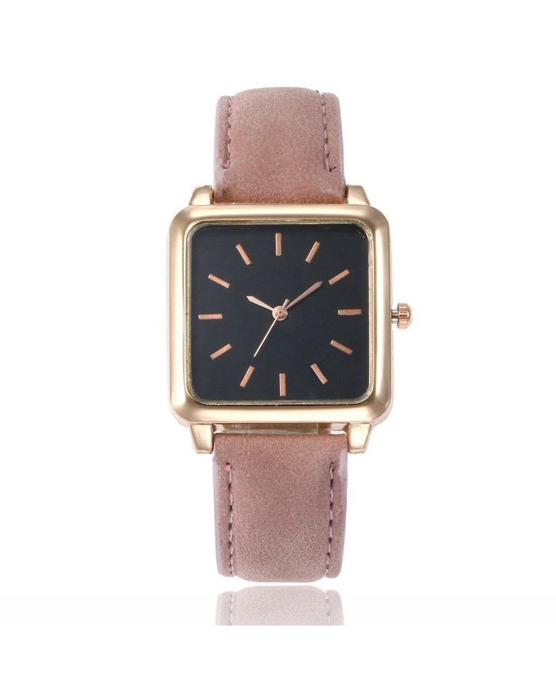 Fashion Favorite Vesper Black Square Horloge | Oudroze | Vierkant | Kunstleer | Ø 30 mm