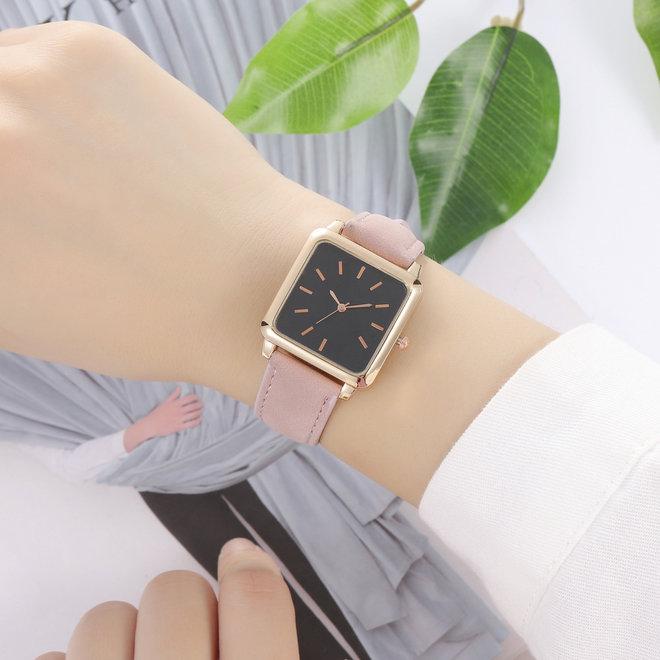 Vesper Black Square Horloge | Oudroze | Vierkant | Kunstleer | Ø 30 mm