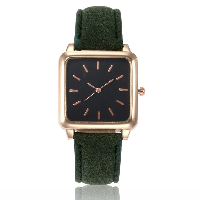 Vesper Black Square Horloge | Groen