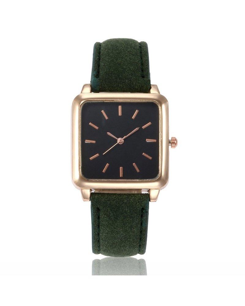 Fashion Favorite Vesper Black Square Horloge | Groen | Vierkant | Kunstleer | Ø 30 mm