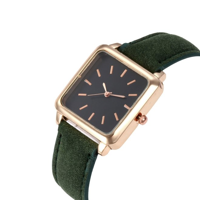 Vesper Black Square Horloge | Groen | Vierkant | Kunstleer | Ø 30 mm