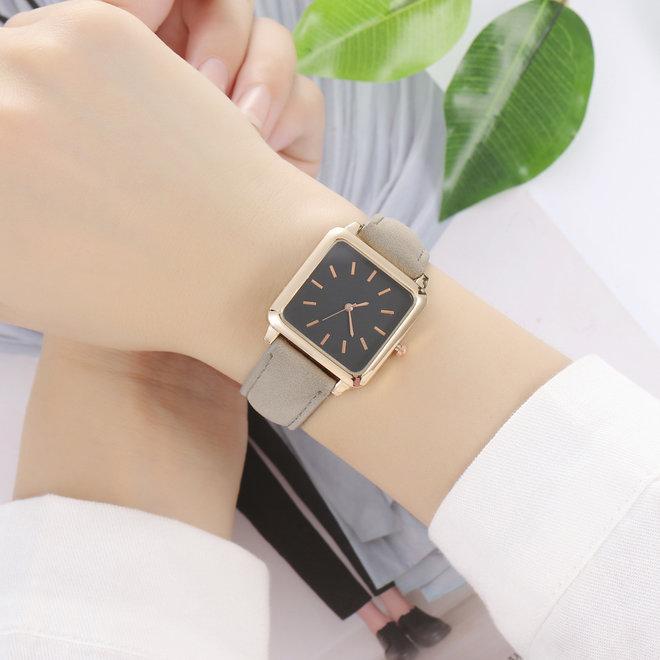 Vesper Black Square Horloge | Grijs | Vierkant | Kunstleer | Ø 30 mm