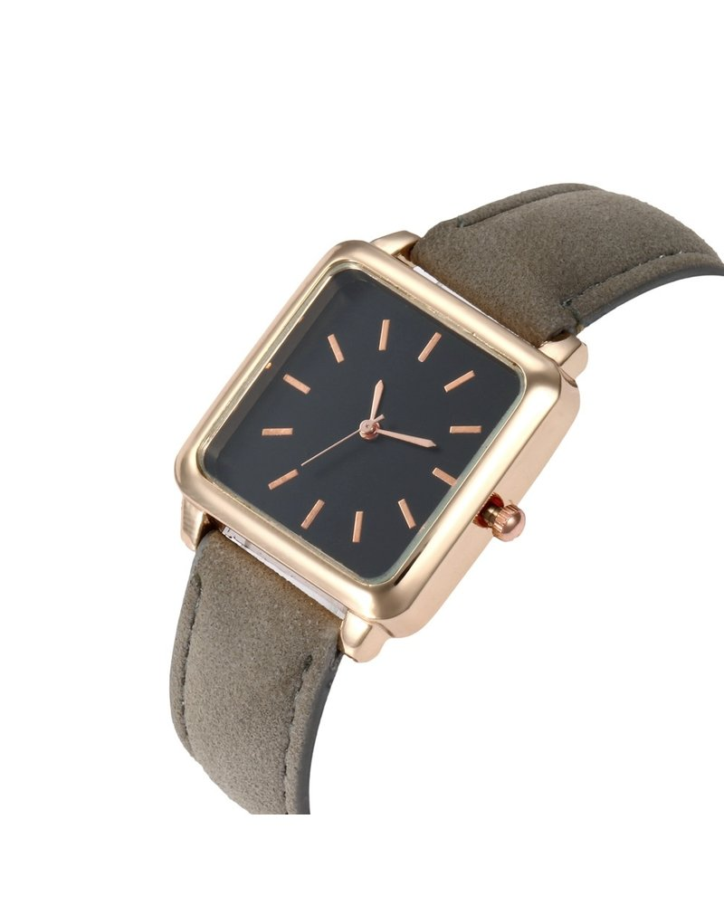 Fashion Favorite Vesper Black Square Horloge | Grijs | Vierkant | Kunstleer | Ø 30 mm